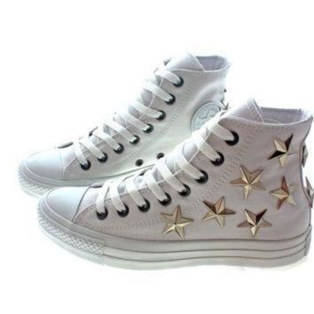 DCCKGQ8 studded converse silver star with converse all white hi top
