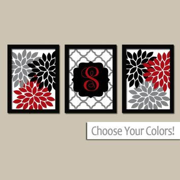 Red Black Gray Wall Art, Family Name Monogram, Red Black Bedroom Flower Pictures, Red Black Bathroom Art, CANVAS or Prints, Set of 3