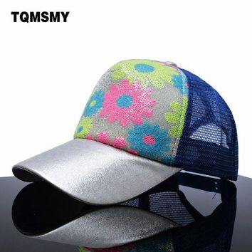 DCCKWJ7 Casual girls summber baseball caps women flowers mesh hat brand snapback cap sequins shiny bone hats for women hip hop casquette