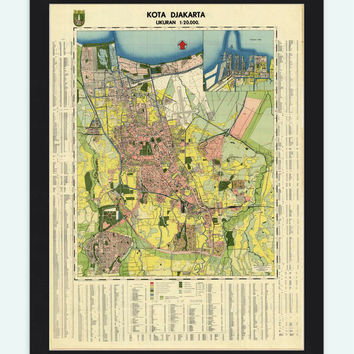 Old Map of Jakarta Batavia Indonesia - VINTAGE MAPS AND PRINTS