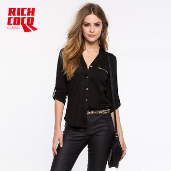 Fashion Casual Slim Long Sleeve Zipper Solid Button Shirt Blouse a13347