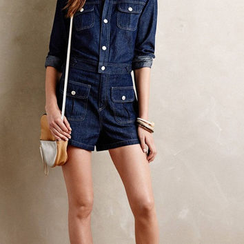 Denim Navy Sleeve Button Pocket Romper