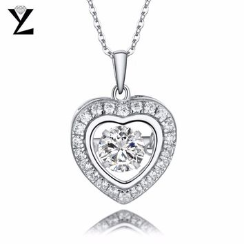 YL 100% 925 Sterling Silver Pendant Necklace with Dancing Natural Stone Natural Topaz for Women Wedding Fine Jewelry