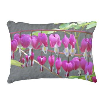 Pink Bleeding Hearts Floral Decorative Pillow