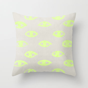 natural neon (eyes) Throw Pillow by LEEMO