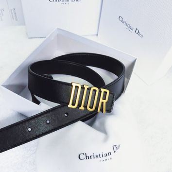 DIOR New fashion letter buckle leather belt Black