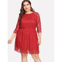 Plus Size Red Round Neck 3/4 Sleeve Length Lace Dress