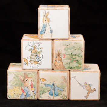 Wooden Blocks Peter Rabbit//Nursery decor//Boy girl baby shower gift//Toddler baby birthday toy