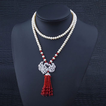 New Arrival Shiny Jewelry Stylish Gift Pearls 925 Silver Tassels Sweater Chain Accessory Necklace [4914840708]