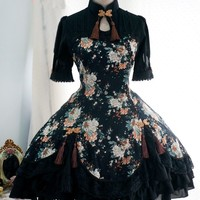 Lolita Cotton Chinese Style Print Tassel Bow Flounced Stand Collar Short-sleeved Dress