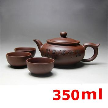 2017 Kung Fu Tea Set Yixing Teapot Handmade Tea Pot Cup Set 350ml Zisha Ceramic Chinese Tea Ceremony Gift BONUS 3 CUPS 50ml Gift