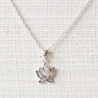 Lotus Necklace, Sterling Silver Lotus Necklace, Small Lotus necklace, Blooming flower,Flower Jewelry, Tiny Necklace,Yoga jewelry,Om necklace