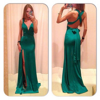Green Cross Back Long Prom Dresses