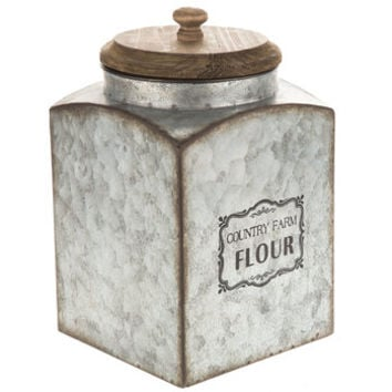 Country Farm Flour Galvanized Metal Canister | Hobby Lobby | 1549484