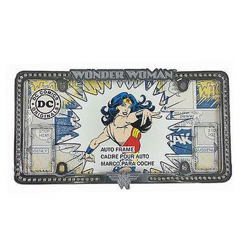 Licensed Official New Wonder Woman Chrome Rhinestone Diamond Bling Car Truck License Plate Frame