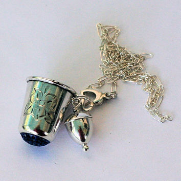 Acorn and Sterling Silver and Wendy Blue Glass Thimble Necklace - Peter Pan and Wendy Hidden Kisses