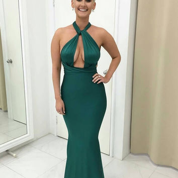 Emerald Green Halter Mermaid Prom Dresses Keyhole Front Sexy Evening Party Gowns for Women Pleats vestido de gala S998