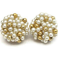 Vintage Faux Pearl and Gold Tone Bead Cluster Clip Earrings Small Beads Vintage Clip On Earrings 50s 1950s