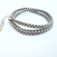 Brown cotton wax cord and nickel -3X wrap bracelet