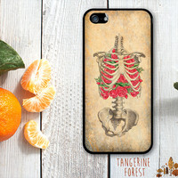 Medical Illustration Ribcage With Roses. iPhone 4 // 4s // 5 // 5s // 5c