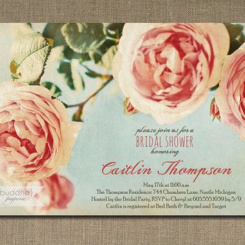 Roses Bridal Shower Invitation Pink Aqua Blue Rustic Chic Peony Vintage Floral Wedding Printable Digital or Printed - Caitlin Style