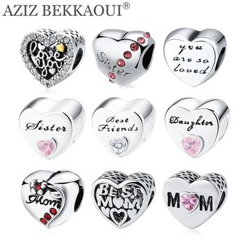 AZIZ BEKKAOUI Heart-shape Beads fit DIY Bracelet Diy Letters Charms Silver Color Heart Beads for Mom Sister Daughter Friends