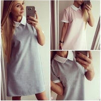 Contrast Collar Shift Dress in Gray or Pink