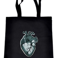 Medical Anatomical Heart on Black Tote Book Bag Occult Oddities Handbag
