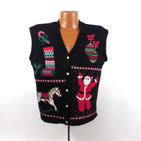 Ugly Christmas Sweater Vintage 1980s Tacky Holiday Cardigan Vest Party Women's