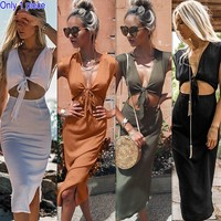 Fashion Band and Short Sleeve Dresses for Women