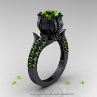 Classic 14K Black Gold 1.0 Ct Peridot Solitaire Wedding Ring R410-14KBGP