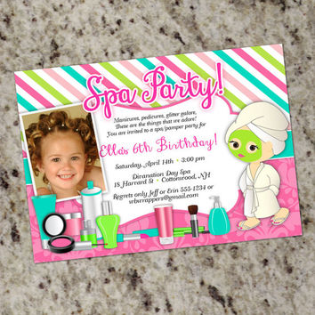 Spa Pamper Party Invitations - Sweet and Girly - Personalized Printable File