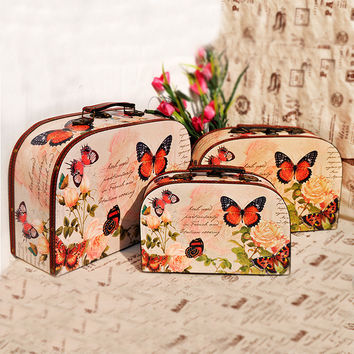 Home Decor Pastoral Style Butterfly Pattern Wooden Storage Tote Bag [6282956742]