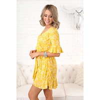 Pocket Full Of Sunshine Floral Dress (Mustard)