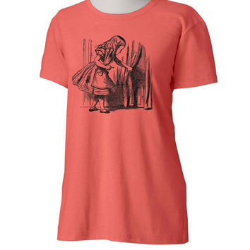 Womens Coral Alice in Wonderland Printed Tee - Through the Looking Glass shirt