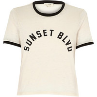 River Island Womens Pink Sunset Blvd print t-shirt