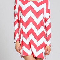 Long Sleeve Chevron Shift Dress - Coral