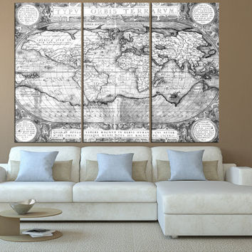black and white rustic world map wall art on canvas print, Large wall Art, vintage World Map wall art, extra large wall art canvas t515