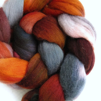 polwarth roving, spinning fiber, spinning fibre, hand dyed roving, felting wool, hand painted roving, kettle dyed roving, combed top, 4.1 oz
