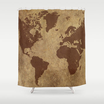 Bathroom Decor, Custom Shower Curtain, World Map, Fun, for Teens, for Kids, for Men, Natural Brown Decor