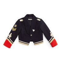 Lee Cropped Cotton Military Jacket, Navy/Red, Size 8-14, Size: