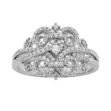 Simply Vera Vera Wang Sterling Silver 1/3-ct. T.W. Diamond Scrollwork Ring (White)