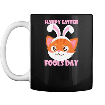 Funny Cat Face Bunny Ears Happy Easter Fools Day Shirt Mug