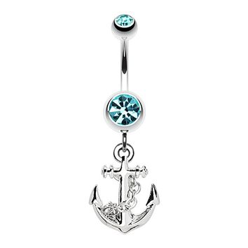 Classic Anchor Dangle Belly Button Ring