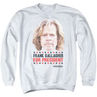 SHAMELESS/FOR PRESIDENT - ADULT CREWNECK SWEATSHIRT - WHITE -