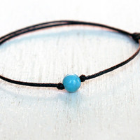 Turquoise Bead Bracelet / Turquoise Bead Anklet (many colors to choose)