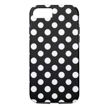 Black and White Polka Dot Pattern iPhone 7 Case