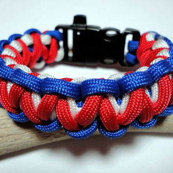 Paracord Survival Bracelet Red White Blue Patriotic Handmade USA Thick Gorilla Knot Weave 7 - 7.5 Inch