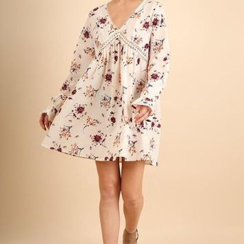 Umgee V Neck with Ruffel Sleeves Dress