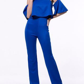 Streetstyle  Casual Stylish Solid Flounce Off Shoulder Straight Jumpsuit